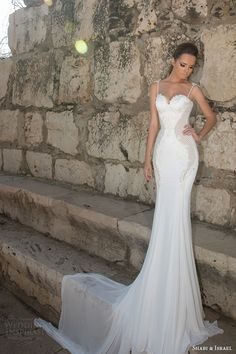 shabi and israel wedding dresses 2015 thin strap bustier bodice sheath white dress bridal gown full view