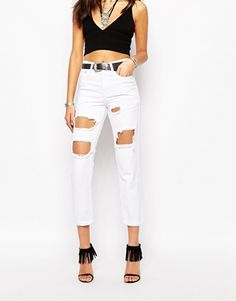 Boohoo Briana Extreme Ripped Cropped Boyfriend Jeans