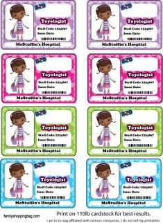 {free} printable Badges Stickers *** X Doc Mcstuffins Birthday Party, 4th Birthday Parties, Baby Birthday, Birthday Ideas, Kids Party Themes, Party Ideas, Bday Girl, Badges, Birthdays