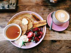 Flourless lemony banana pancakes at Bread & Circus in Sydney, Australia