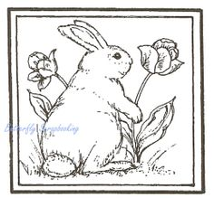 Bunny Rabbit Flower Square Wood Mounted Rubber Stamp Northwoods Rubber Stamp New