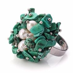 Find More Rings Information about Pretty Design White Freshwater Pearl and Green Turquoise Adjustable Ring,High Quality pearl wristlet,China pearl cloth Suppliers, Cheap pearl wrap from Lucky Fox Jewelry on Aliexpress.com
