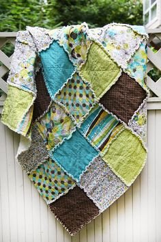 Brook Green and Teal and Brown Queen Rag Quilt by WestCoastQuilts, $320.00