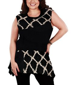 Another great find on #zulily! Black & Beige Lattice Sleeveless Tunic - Plus by Lily #zulilyfinds