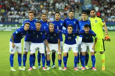 Italy line up prior to the 2017 UEFA European Under-21 Championship Group C match between Italy and Germany at Stadion Cracovia on June 24, 2017 in Krakow, Poland.
