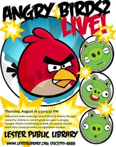 Angry Birds2 Live! by Lester Public Library, via Flickr