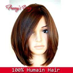 Rihanna de cabelo curto Direto Preto Nenhum peruca e Frente Lace Wig Humano Bob peruca de cabelo , castanho escuro , 12inch.HU094 em Perucas...