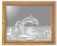 Dolphins Smaller Rectangular Oak Frame Mirror