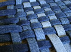 Creative Ideas For Your Van With Leftover Jeans idea to recycle jeans…rugs/potholders/hotmatsJean Rug Make into a woven basketWeave strips of denim. -- I think the weaving of denim would make a fabulous pillow. Artisanats Denim, Denim Rug, Denim Quilts, Blue Jean Quilts, Patchwork Jeans, Jean Crafts, Denim Crafts, Bordados E Cia, Creative Outlet