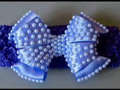Laço de fita de cetim com meia pérolas e dobras - Satin ribbon bow - YouTube