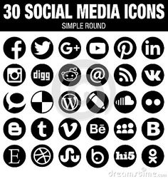 30 elegant modern round Social Media icons collection, black, the base must-have icon set for webdesign and graphicdesign with all the new versions of the most popular social media logos. Vector files are the best for printing and resizing.