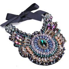 Women Charm Jewelry Pendant Chain Crystal Chunky Statement Bib Diamond Necklace Gift    #StatementNecklace #BibNecklace #GiftIdea #Fashion #Style #Ad