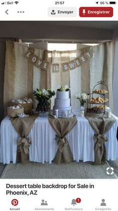 Used (normal wear), Dessert table backdrop with love is sweet sign. And table burlap pieces with 2 bows (can't find the bow). Used for bridal shower. Make an offer! Used (normal wear), Dessert table backdrop with Rustic Wedding Decorations, Burlap Table Decorations, Bridal Shower Table Decorations, Boy Baptism Centerpieces, First Communion Decorations, Wedding Ideas With Burlap, Bridal Shower Tables, Rustic Theme Party, Wedding Shower Centerpieces