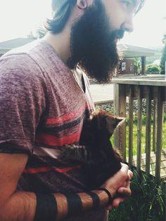 #armbands #beard #cat #tattoo