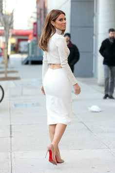 Maria Menounos booty in a tight white skirt and nude Louboutin high heels