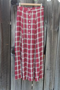 90s Plaid Button Down Grunge Skirt 26 waist // clueless punk great condition by FoxyRae on Etsy