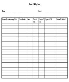 Sample Call Log Template 11 Free Documents In Pdf Word