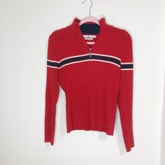cc42837ed3c Tommy Hilfiger Womens Half Zip Knit Red  amp  Navy Sweater Size Large   fashion