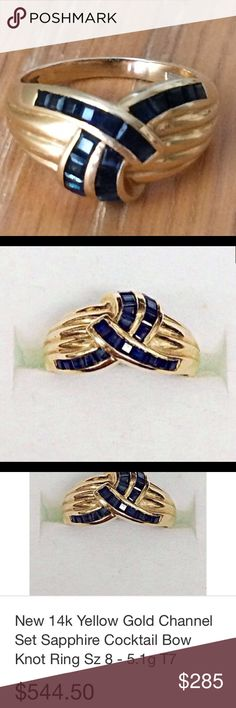 14k YG Channel set 1 carat sapphire ring sz 6 Gorgeous and comfortable!  Beautiful color in these sapphires.  Bowtie design.  14k gold and 1 carat sapphires! Jewelry Rings