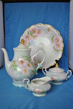 Wunsiedel Bavarian Tea Set and Plate Pink Dogwood Flowers Bone China