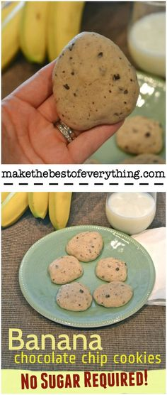 Chocolate Chip Cookies with no added sugar!  Bananas sweeten these cookies instead.  Perfect for kiddos!