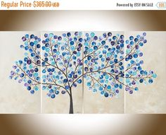 Original Large abstract painting blue purple cream by QiQiGallery