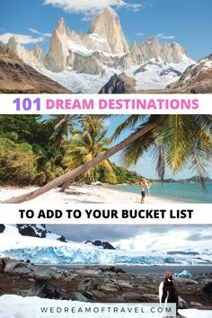 Discover over 101 dream destinations to add to your travel bucket list. Looking for some travel inspiration? From iconic sights to hidden gems, discover the ultimate bucket list of dream destinations you need to visit at least once in your life! Dream Destinations | Dream Destinations Bucket List | Travel Bucket List | Travel Inspiration | Worldwide Travel | Bucket List Goals