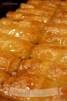 Ρολάκια γαλακτομπούρεκου Greek Sweets, Greek Desserts, Greek Recipes, Desert Recipes, Cookbook Recipes, Cooking Recipes, Cyprus Food, Greek Pastries, Desserts With Biscuits
