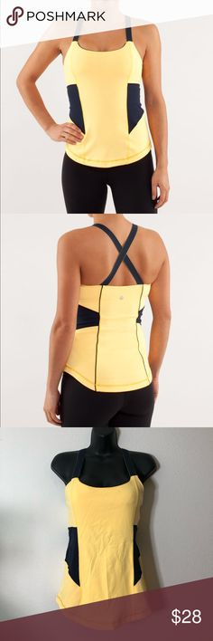 2e1d067c1c100 Lululemon Work it Out Tank Burning Yellow DarkNavy Excellent used condition  Size label is inside bra