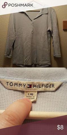 Tommy Hilfiger 3'4 length shirt Light blue collered Tommy Hilfiger shirt Tommy Hilfiger Tops Button Down Shirts