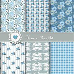 Papeles Decorativos Floreados Azul y Celeste Papeles