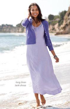 Love this JJill long linen tank dress for the beach.