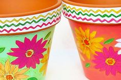 Flower Pot Hand Painted 8 Inch Terracotta Pot  by ThePaintedPine, $34.00