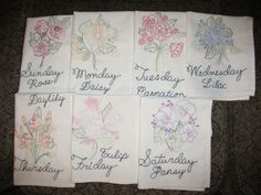 FREE SHIPPING Handmade Embroidered Tea TowelsFloral by Hisnow, $70.00