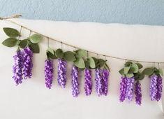 Custom Listing for Erin -- Purple Felt Wisteria Garland, Felt Flower Garland, Nursery Garland, Farmhouse Decor Flower Ornaments, Flower Garlands, Flower Decorations, Bridal Flowers, Felt Flowers, Pink Flowers, Bohemian Nursery, Floral Nursery, Pumpkin Bouquet