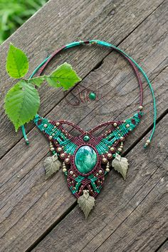 """Goddess Tara"". Necklace with malachite."