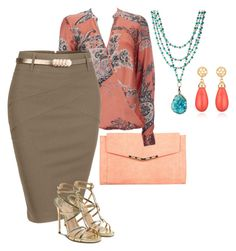 """""""coral paisley"""" by shoesclothesbagsaddict ❤ liked on Polyvore featuring Miss Selfridge, Wallis, LE3NO, Paul Andrew and Susan Shaw"""