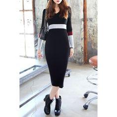 $10.11 Casual V-Neck Color Block Back Slit Knitted Long Sleeve Dress For Women