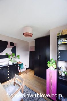 Amazing craft room makeover - soft stone (pink) dulux paint on the walls with black accents and upcycled furniture. Craft room on a budget with lots of storage Dark Interiors, Beautiful Interiors, Upcycled Furniture, Furniture Projects, Wardrobe Handles, Black Shelves, Office Makeover, Old Kitchen, Room Chairs