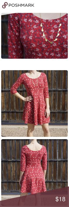 Hollister Red Skater Dress Hollister red floral print skater dress with 3/4 length sleeves. Fabric is on the heavier side (not sweatshirt thick but not too thin either). Comfortable fit. Women's M. Gently worn. Hollister Dresses