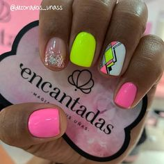 Bright Nails, Neon Nails, Dope Nails, My Nails, Disney Acrylic Nails, Cute Acrylic Nails, Acrylic Nail Designs, Classy Nails, Fancy Nails