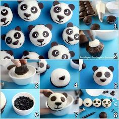 Panda cupcakes. Dessicated coconut, chocolate buttons & sprinkles. Image only. Thanks to Reciclagem, Jardinagem e Decoraçao on fb.