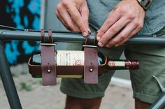 This hands free bicycle accessory gets you and your Pinot to the party safely and in style. Perfect for quick trips to the wine store, dinner at a friends or a concert in the park, the Fyxation Wine Caddy is the perfect companion for a night out. Our leather wine bottle holder securely