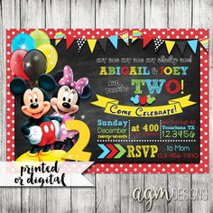 Mickey Minnie Mouse Twin Invitation Mickey by AGMPrintableDesigns
