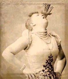 1800's female sword swallower, vintage sideshow performer.