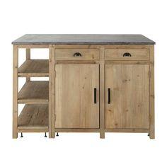 Kücheninsel aus Recyclingholz, B 145 cm