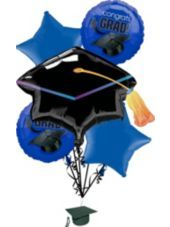 Congratulate the grad with our Royal Blue Graduation Balloon Bouquet! Royal Blue Graduation Balloon Bouquet features a grad cap balloon with star balloons in school colors. Great Graduation Gifts, Graduation Party Supplies, Graduation Celebration, Kids Party Supplies, Graduation Ideas, Graduation Theme, Purple Balloons, Round Balloons, Mylar Balloons