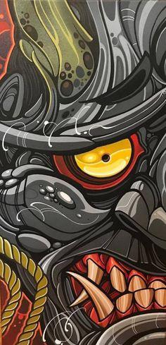 (one foot by two feet) acrylic and acrylic spray paint on canvas. Ships on January - tracked and insured via UPS. Sealed with a matte. Images Graffiti, Graffiti Art, Tattoos 3d, Irezumi Tattoos, Samurai Wallpaper, Samurai Artwork, Posca Art, Japanese Tattoo Art, Art Asiatique