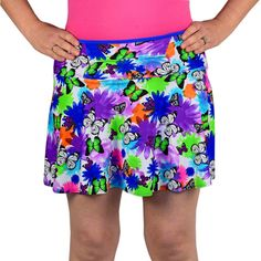 "SparkleSkirts Medium-weight SwingStyle Mariposa  Bright butterfly design running skirt with anti-ride blue running shorts built-in. Shorts have two 5x5"" side pockets and skirt has 12"" zippered waistband pocket."