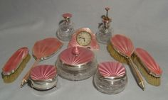English silver and pink guilloche enamel Art Deco dressing table set.